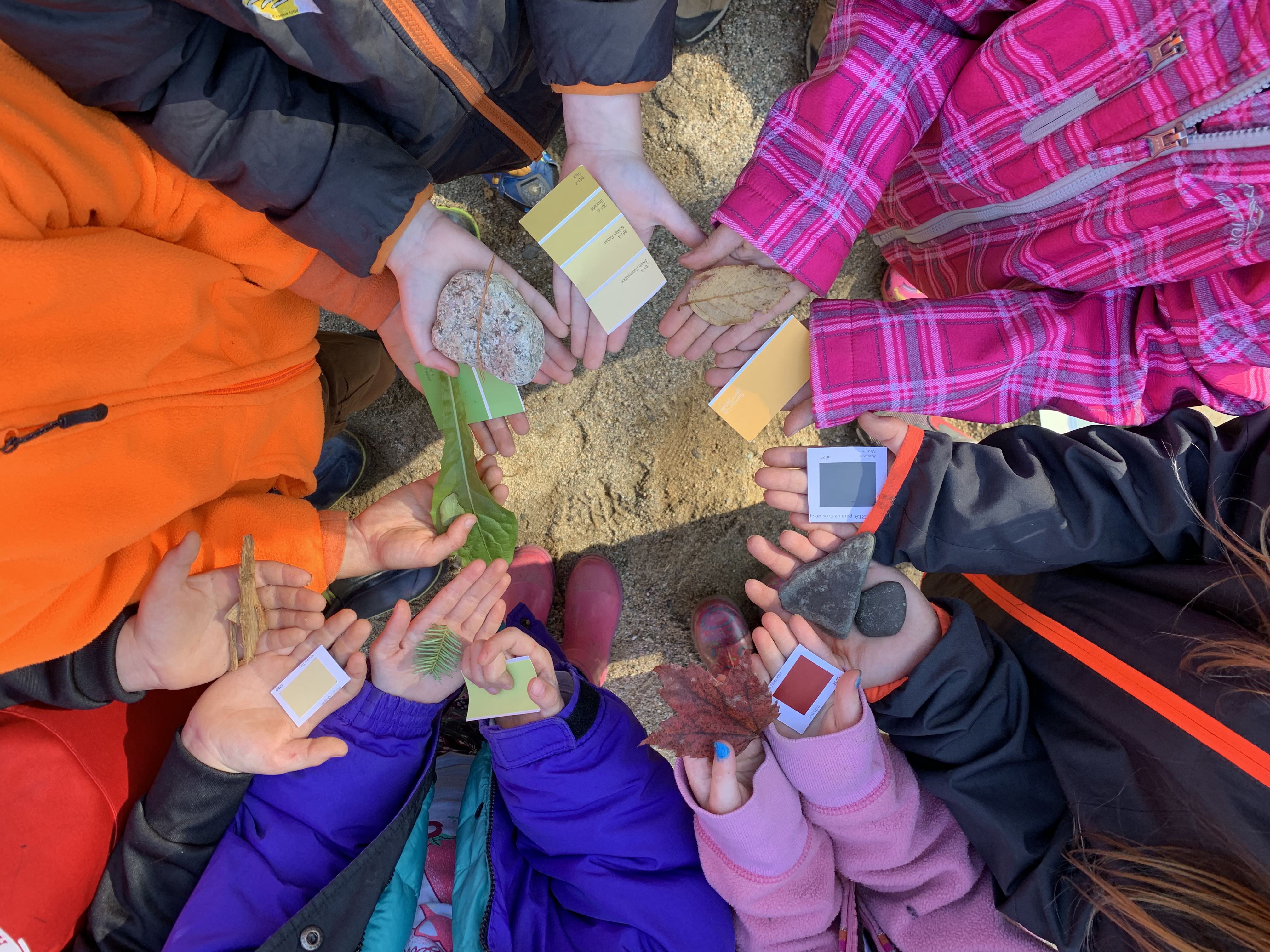 Students holding objects from nature they found in a variety of colors